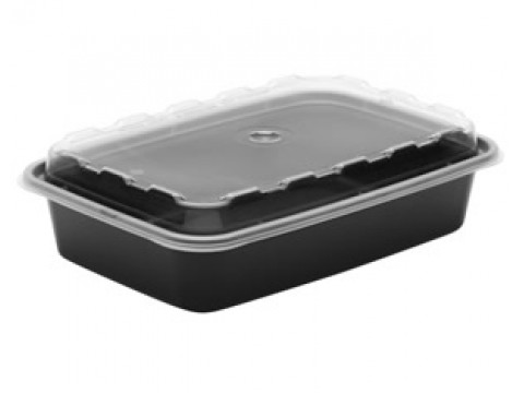 48 oz Black 3 Compartment Microwavable Container with Clear Lid 100/cs